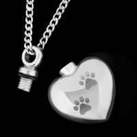 Necklace & Pendants - CREMATION URN JEWELRY NECKLACE PAW PRINT HEART SILVER MEMORIAL PENDANT ASHES alternate image 3.