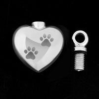 Necklace & Pendants - CREMATION URN JEWELRY NECKLACE PAW PRINT HEART SILVER MEMORIAL PENDANT ASHES alternate image 2.