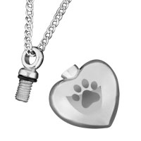 New Arrivals - PAW PRINT HEART SILVER CREMATION URN JEWELRY NECKLACE MEMORIAL PENDANT ASHES alternate image 1.