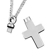 Necklace & Pendants - CREMATION SILVER CROSS URN NECKLACE JEWELRY MEMORIAL KEEPSAKE PENDANT ASHES alternate image 1.