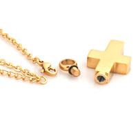 Necklace & Pendants - CREMATION GOLD PLATED CROSS URN NECKLACE JEWELRY MEMORIAL KEEPSAKE PENDANT alternate image 2.
