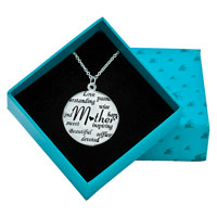 "Sterling Silver - 925  STERLING SILVER LOVE MOM CIRCLE GRAFFITI MESSAGE NECKLACE 18""   PENDANT alternate image 1."