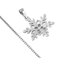Necklaces - 925 STERLING SILVER DIAMOND ACCENT WINTER SNOWFLAKE PENDANT NECKLACE 18 alternate image 2.