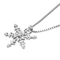 Necklaces - 925 STERLING SILVER DIAMOND ACCENT WINTER SNOWFLAKE PENDANT NECKLACE 18 alternate image 1.