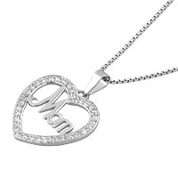 Necklaces - 925 STERLING SILVER MOM DIAMOND ACCENT OPEN HEART LOVE MOTHER PENDANT NECKLACE 18 alternate image 1.