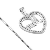 Necklaces - 925 STERLING SILVER MOM DIAMOND ACCENT OPEN HEART LOVE MOTHER PENDANT NECKLACE 18 alternate image 2.