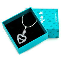 Necklaces - 925 STERLING SILVER DIAMOND ACCENT DOUBLE OPEN HEART LOVE PENDANT NECKLACE 18 alternate image 1.