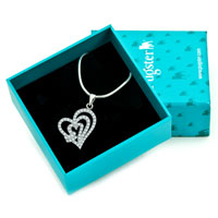 Necklaces - 925 STERLING SILVER DIAMOND ACCENT OPEN HEARTS OVERLAP LOVE PENDANT NECKLACE 18 alternate image 1.