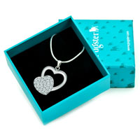 Necklaces - 925 STERLING SILVER DIAMOND ACCENT HEART LOVE PENDANT NECKLACE 18 alternate image 1.
