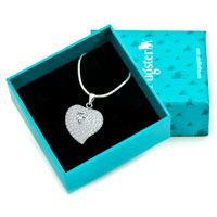 Necklaces - 925 STERLING SILVER DIAMOND ACCENT CLEAR SWAROVSKI CRYSTAL HEART LOVE PENDANT NECKLACE 18 alternate image 1.