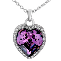 Necklace & Pendants - BEAUTIFUL FEBRUARY BIRTHSTONE PURPLE SWAROVSKI CRYSTAL HEART GIFT PENDANT NECKLACE FOR WOMEN alternate image 1.