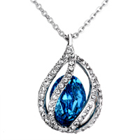Necklace & Pendants - BLUE AQUAMARINE TEARDROP CRYSTAL PENDANT NECKLACE FOR WOMEN alternate image 1.