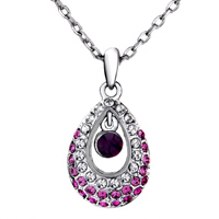 Necklace & Pendants - SWAROVSKI CRYSTAL PRINCESS PINK TEARDROP PENDANT NECKLACE FOR WOMEN alternate image 1.