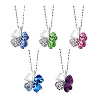 Necklace & Pendants - SAPPHIRE BLUE CRYSTAL HEART SHAPED FOUR LEAF CLOVER PENDANT NECKLACE alternate image 2.