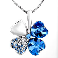 Necklace & Pendants - AQUAMARINE BLUE SWAROVSKI CRYSTAL HEART SHAPED FOUR LEAF CLOVER PENDANT NECKLACE EARRINGS alternate image 1.