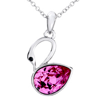 Necklace & Pendants - NECKLACE BEAUTIFUL SWAN OCTOBER BIRTHSTONE SWAROVSKI PINK CRYSTAL PENDANT NECKLACE FOR WOMEN alternate image 1.