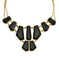 Necklace & Pendants - GOLDEN CHAIN BLACK LUMP JASPERY ADORNED PENDANT STATEMENT NECKLACE alternate image 2.