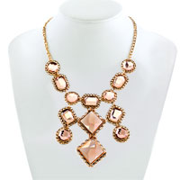 Necklace & Pendants - STATEMENT NECKLACE GOLDEN CHAIN LIGHT BROWN CRYSTAL PARTY PENDANT alternate image 1.