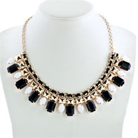 Necklaces - STATEMENT NECKLACE GOLDEN CHAIN BLACK WHITE JASPERY PARTY PENDANT alternate image 1.