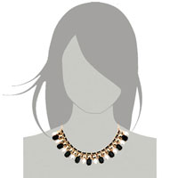 Necklaces - STATEMENT NECKLACE GOLDEN CHAIN BLACK WHITE JASPERY PARTY PENDANT alternate image 3.