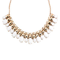 Necklace & Pendants - STATEMENT NECKLACE GOLDEN TONE CLEAR JASPERY PARTY BALL PENDANT alternate image 2.