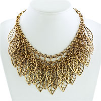 Necklaces - STATEMENT NECKLACE VINTAGE GOLDEN TONE CHAIN HOLLOW CHUNKY LEAF PENDANT alternate image 1.