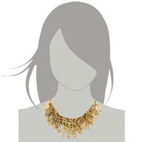 Necklaces - STATEMENT NECKLACE VINTAGE GOLDEN TONE CHAIN HOLLOW CHUNKY LEAF PENDANT alternate image 3.