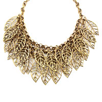 Necklaces - STATEMENT NECKLACE VINTAGE GOLDEN TONE CHAIN HOLLOW CHUNKY LEAF PENDANT alternate image 2.