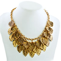 Necklaces - STATEMENT FASHION RETRO GOLDEN CHAIN DANGLE CHUNKY LEAF PENDANT NECKLACE alternate image 1.