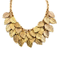 Necklaces - STATEMENT FASHION RETRO GOLDEN CHAIN DANGLE CHUNKY LEAF PENDANT NECKLACE alternate image 2.