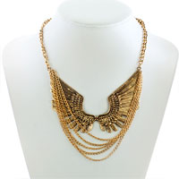 Necklace & Pendants - STATEMENT NECKLACE FASHION RETRO GOLDEN CHAIN SIMILAR EAGLE WING PENDANT PARTY BALL NECKLACE alternate image 1.