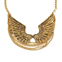 Necklace & Pendants - STATEMENT NECKLACE FASHION RETRO GOLDEN CHAIN SIMILAR EAGLE WING PENDANT PARTY BALL NECKLACE alternate image 2.