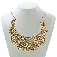 Necklace & Pendants - STATEMENT NECKLACE GOLDEN CHAIN JEWELRY HOLLOW FLORAL ADORNED PENDANT alternate image 1.