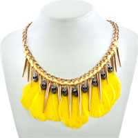 Necklace & Pendants - STATEMENT NECKLACE GOLDEN TONE CHAIN DANGLE YELLOW FEATHERS SILVER SKULLS PENDANT alternate image 1.