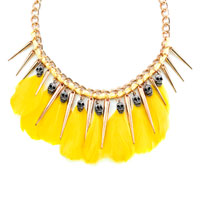 Necklace & Pendants - STATEMENT NECKLACE GOLDEN TONE CHAIN DANGLE YELLOW FEATHERS SILVER SKULLS PENDANT alternate image 2.