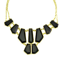 Necklace & Pendants - STATEMENT NECKLACE GOLDEN CHAIN JEWELRY BLACK LUMP JASPERY ADORNED PENDANT alternate image 2.