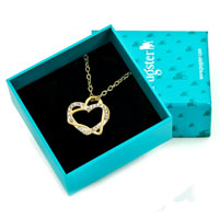 Necklace & Pendants - CLEAR CRYSTAL CZ 18 K GOLD PLATED CROSS HEARTS PENDANT NECKLACE alternate image 1.