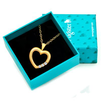 Necklace & Pendants - KARMA 18 K GOLD PLATED HEART CLEAR CRYSTAL CZ PENDANT NECKLACE H06   EARRINGS alternate image 1.