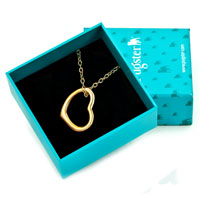 Necklace & Pendants - HOT KARMA 18 K GOLD PLATED OPEN HEART PENDANT NECKLACE FOR WOMEN EARRINGS alternate image 1.