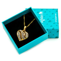 Necklace & Pendants - 18 K GOLD PLATED HEART SHAPED WITH CLEAR CRYSTAL PENDANT NECKLACE EARRINGS alternate image 1.