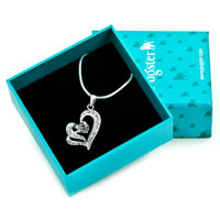 Necklace & Pendants - HEART WITH CLEAR CRYSTAL CZ SILVER PLATED PENDANT NECKLACE EARRINGS alternate image 1.