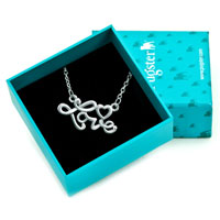 Necklace & Pendants - SILVER PLATED WORDS LOVE HEART PENDANT NECKLACE EARRINGS alternate image 1.