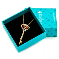 Necklace & Pendants - HOT 18 K GOLD PLATED KEY WITH SIAM CRYSTAL CZ EYE PENDANT NECKLACE EARRINGS alternate image 1.