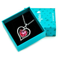 Necklace & Pendants - HEART PINK CRYSTAL CZ SILVER PLATED PENDANT NECKLACE FOR WOMEN EARRINGS alternate image 1.
