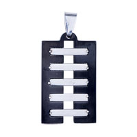 Necklace & Pendants - MEN JEWELRY STERLING SILVER BLACK AND RECTANGLE STAINLESS STEEL NECKLACES PENDANT FOR MEN alternate image 2.