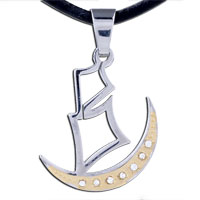 Necklace & Pendants - MOTHERS DAY GIFTS MEN JEWELRY GOLDEN CRESCENT MOON BOAT STAINLESS STEEL NECKLACES PENDANT FOR MEN alternate image 1.