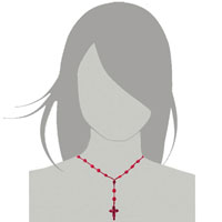 Necklace & Pendants - CROSS NECKLACES RED COTTON ROPE OVAL TURQOISE DANGLE SKULL CROSS PENDANT alternate image 2.