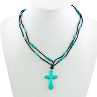 Necklace & Pendants - CROSS NECKLACES BLUE TURQUOISE STONE DOUBLE STRING AQUAMARINE BEAD TOGGLE PENDANT alternate image 1.