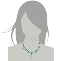Necklace & Pendants - CROSS NECKLACES BLUE TURQUOISE STONE DOUBLE STRING AQUAMARINE BEAD TOGGLE PENDANT alternate image 3.