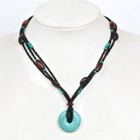 Necklace & Pendants - BLUE TURQUOISE RHINESTONES MULTI STRING BLACK BROWN BEAD TOGGLE CLASP PENDANT NACKLACE alternate image 1.